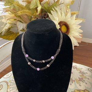 Givenchy Gun Metal Crystal Necklace